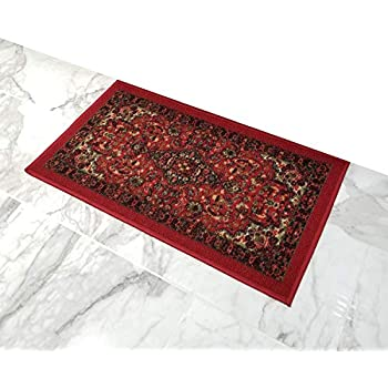 Amazon Com Doormat 18x30 Red Medallion Kitchen Rugs And
