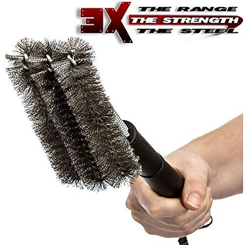 Grill Brush, Barbecue, Cleaning brush, Stainless Steel, Bristles Hardwired into a Triple-woven Frame Cleans Grime 3x Faster, Effective & Durable- Great on All Types of Grills, Weber, Weber Grills, Charcoal Grill, Charcoal,