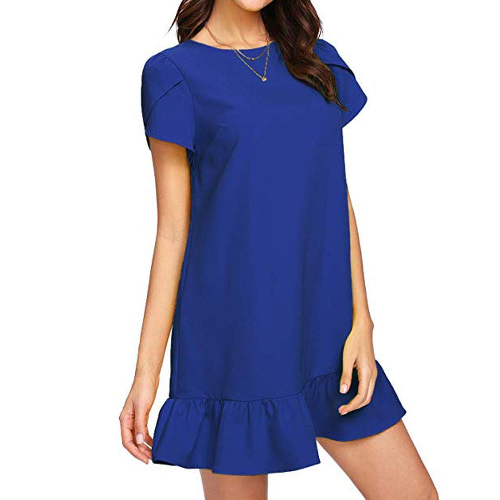 Women's O Neck Short Sleeve Ruffled Mini Dress Fashion Simple Loose Plain Dresses Swing Dress Sundress Blue
