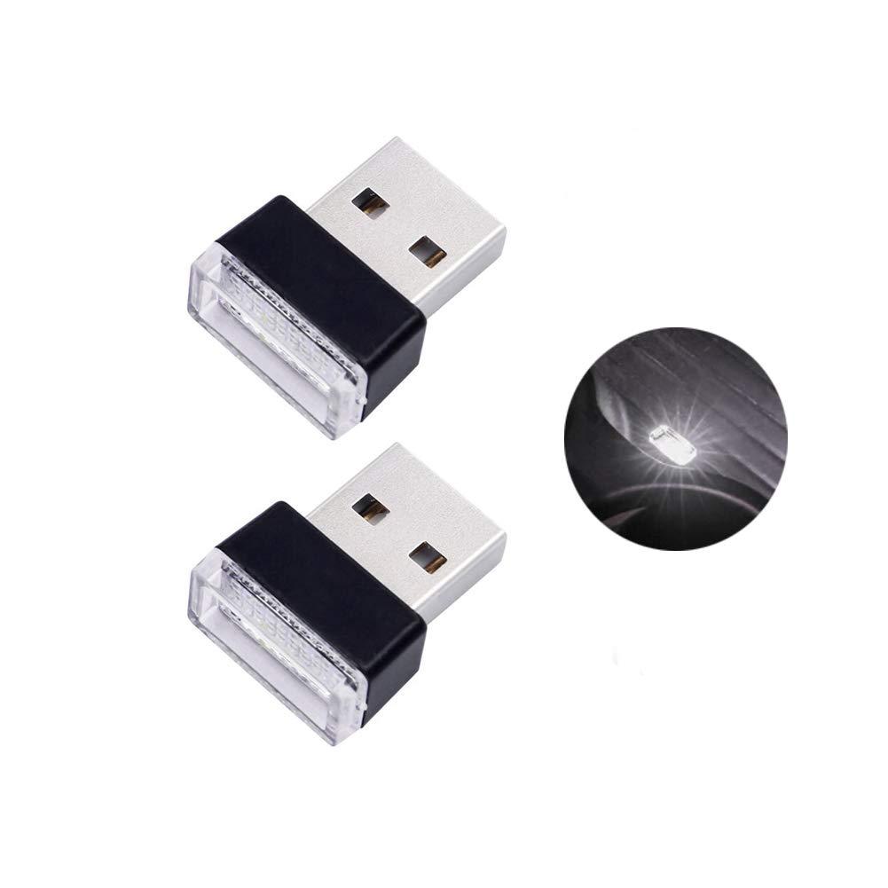 Wei/ß Bello Luna 2 St/ücke Mini USB Licht Auto Innenraum Umgebungslampe f/ür Auto Notebook Power Bank