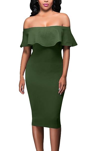 afc39eea3280b7 Sommerkleider Damen Elegant Etuikleid Cocktailkleid Abendkleid Schulterfrei  Rüschen Boot Hals Festliche Kleider Slim Fit Knielang Skinny