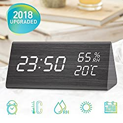 Segrewall Wooden Alarm Clock, LED Clock With Three Alarms, Alarm Clock for Bedrooms, Digital Clock In 12/24 Time Display Format, 3 Levels Brightness, Date Temperature and Humidity LED Display