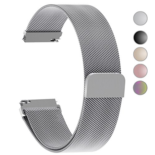 5+Colors+for+Quick+Release+Watch+Strap%2C+Fullmosa+Milanese+Magnetic+Closure+Stainless+Steel+Watch+Band+Replacement+Strap+for+20mm+Silver
