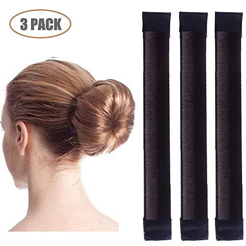 (Aisonbo Magic Hair Bun Maker 3 PACK French Twist Donut Maker Easy Perfect Bun for Women Girls, DIY Hair Bun Making Hair Styling For Ballet, Wedding, Yoga, Dancing, Party (Dark Brown))