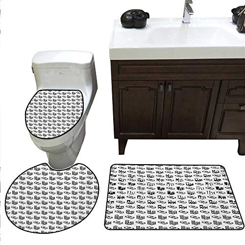 - Anshesix Money Bathroom Rug Set Monochrome Stacked Coins and Dollar Bills Simple Doodle Style Economy Themed Pattern Toilet Carpet Floor mat Set Black White