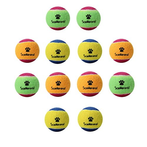 SCENEREAL Small Tennis Balls for Dogs - 12Pcs/Set Squeaky To