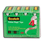 Scotch Magic Tape, Boxed, 19mm x 25.4 m Per Roll, 4 Rolls, (810-4PK-C)