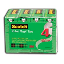 Scotch Magic Tape, Boxed, 19mm x 25.4 m Per Roll, 4 Rolls, (810-4PK-C)