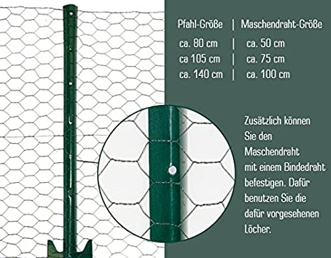 Niederberg Metall metal Fence Posts 80cm for wire-netting fences