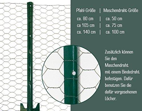 NIEDERBERG METALL Maschendraht-Zaun Set 25x25mm Drahtzaun 25x0.75m Maschendraht-Rolle Kaninchendraht mit 20 Zaunpfosten H:105cm Garten-Zaun Volierendraht
