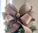 Burlap and Gold Christmas Bow - Christmas Tree