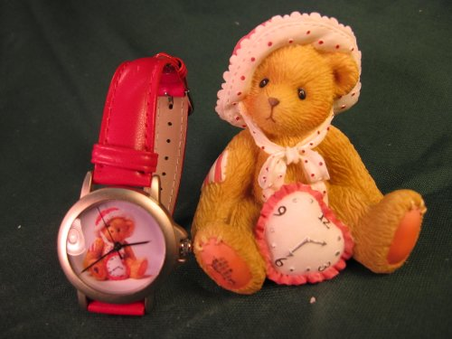 Cherished Teddies.......... Val (and Watch)... It's Always Time To Say I Love You - Chicago Bears Heart Watch