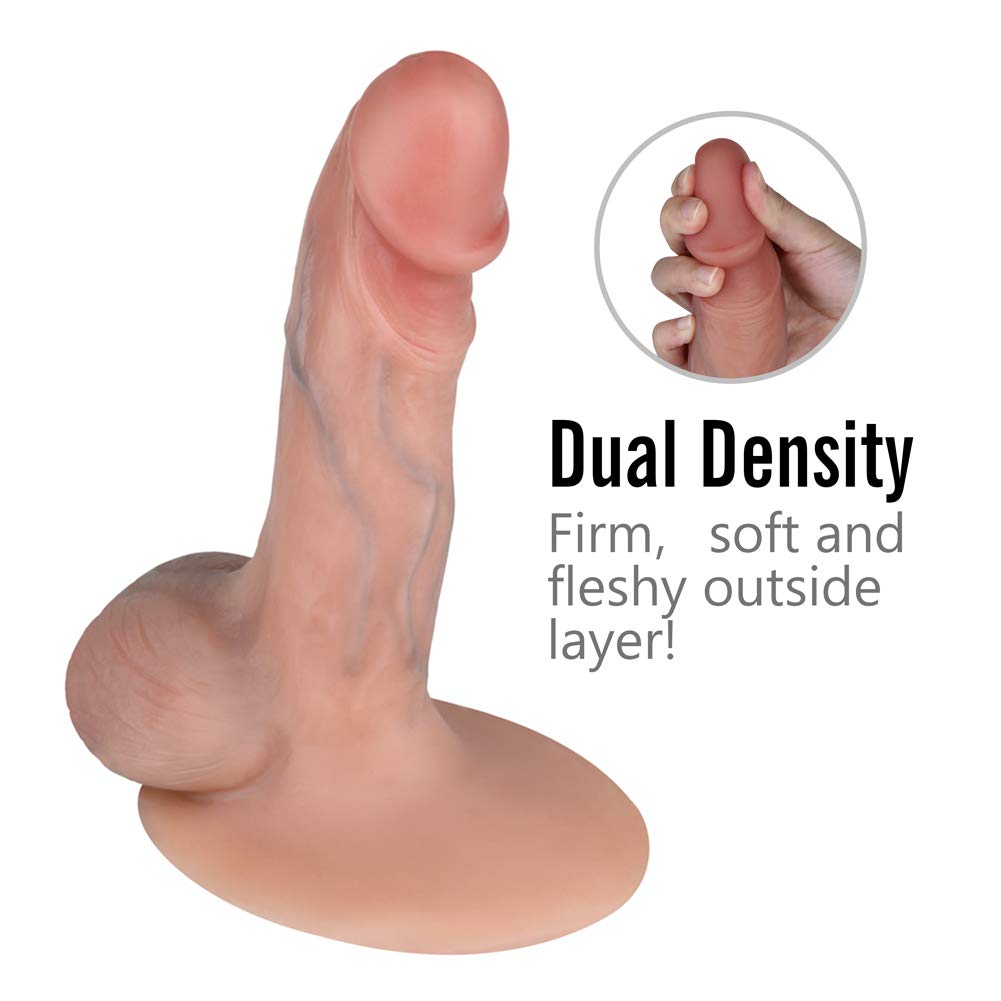 BEING FETISH Dual Skin Realistic Silicone Dildo Natural Flesh Premium Sex Toy Penis with Suction Base, Insertable 6 inches