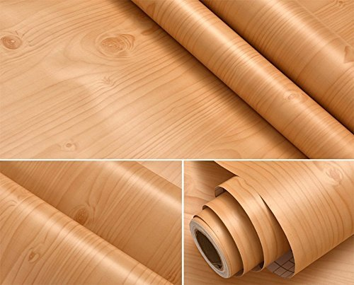 Faux Wood Grain Contact Paper Vinyl Self Adhesive Shelf Drawer Liner for Kitchen Cabinets Shelves Table Desk Dresser Furniture Arts and Crafts Decal 24 Inches by 16 Feet