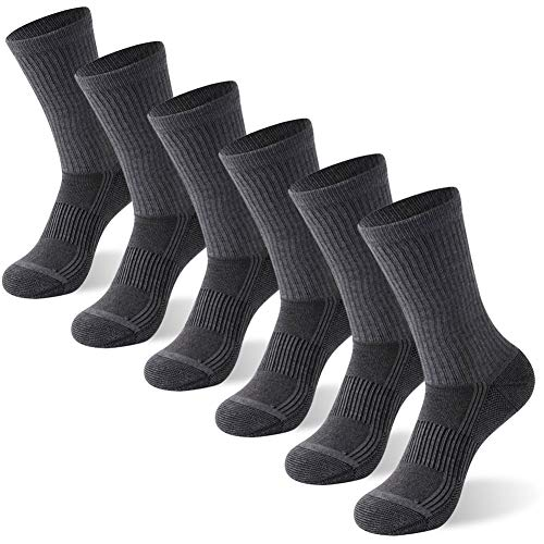 Copper Antibacterial Socks, FOOTPLUS Men and Women Crew Antimicrobial and Anti Odor Moisture Wicking Breathable Running Hiking Socks, 6 Pairs Dark Grey, Medium