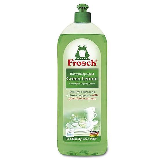 Frosch Natural Liquid Dish Soap, Vegan Hand Dishwashing Detergent, Green Lemon, 750ml (Pack of 2)