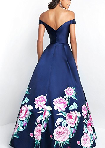 Gowns Evening DreHouse Blue Royal Long Women's Floral Off Shoulder Dresses Prom Printed The 1v1zH4