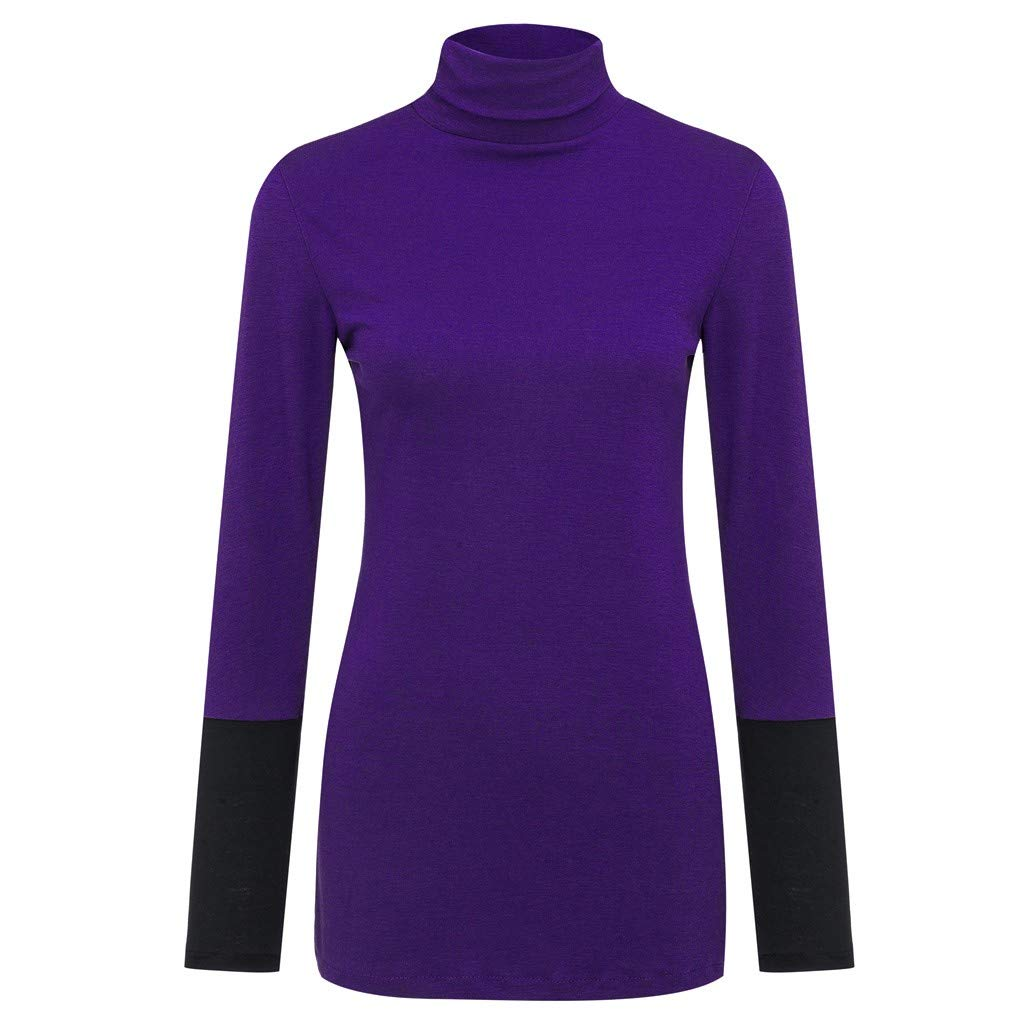 Willow S Women Fashion Comfy Sport Casual High Neck Patchwork Long Sleeve Loose Sweatshift Blouse Tunic Purple by Willow S (Image #4)