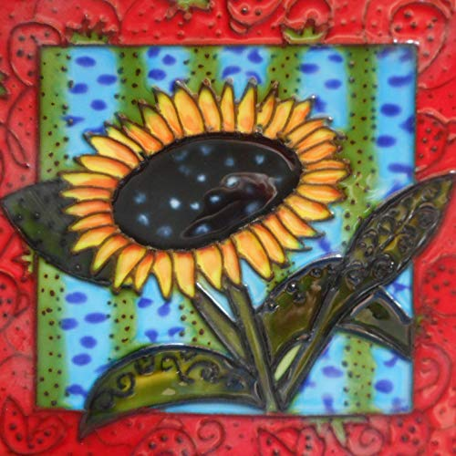 (Sunflower Ceramic Art Tile 6 x 6 inches with Easel Back)