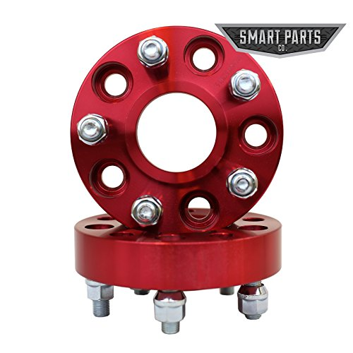 "2 QTY Red Wheel Spacers Adapters 2.5"" (1.25 inch per side) fits all 5x4.5 (5x114.3) Hubcentric vehicle to 5x4.5 wheel bolt patterns with 1/2 - RH threads - Jeep Wrangler TJ Cherokee Liberty"