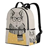 Funny Print Rucksack Canvas Satchel Casual Daypack Backpack,Glasses Scarf Fox Design