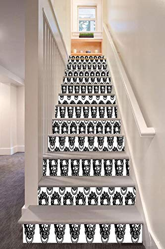- anselc05ls Black and White 3D Stair Riser Stickers Removable Wall Murals Stickers,Monochrome Medieval Knocker Old Antique Figure Head Cartouche Gothic Theme,for Home Decor 39.3