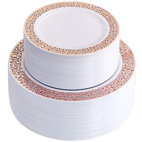 IOOOOO 120 Pieces Rose Gold Plastic Plates, White Disposable Plates with Lace Design Includes: 60 Dinner Plates 10.25 Inch and 60 Salad/Dessert Plates 7.5 -