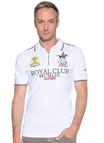 Polo de Manga Corta para Hombre Geographical Norway (XXL, White ...