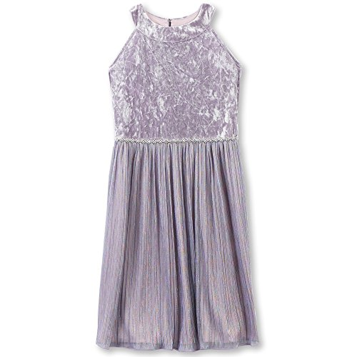 Speechless Big Girls' Long Sleeve Velvet Bodice Dress with Sparkle Skirt, Lilac, 10