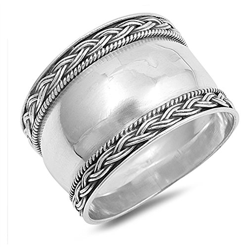 Bali Band Ring (Wide Bali Rope Weave High Polish Ring New .925 Sterling Silver Band Size 8)