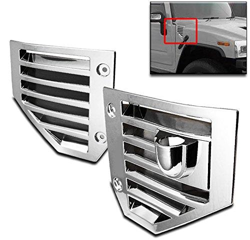 (ZMAUTOPARTS Hummer H2 Side Vent Covers Chrome Hood Intake Bezel Moulding)