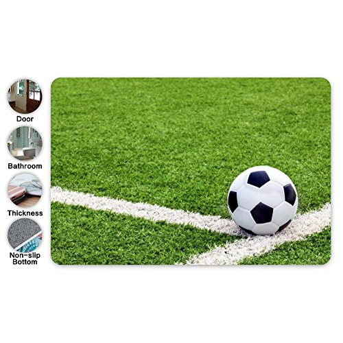 - Football Soccer Field Square Doormat Non Slip Entrance Door Mat Toilet Floor Mats Bath Rugs 15.7