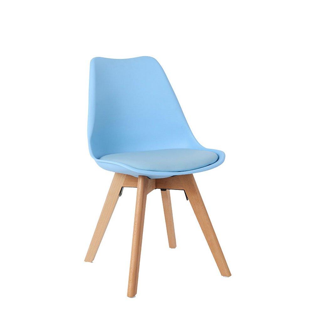 ダイニングチェア北欧シンプルチューリップ背もたれテーブルとチェアファッション創造性オフィスカジュアルレセプションプラスチックチェア (Color : Blue) B07F5KXZZ1 Blue Blue