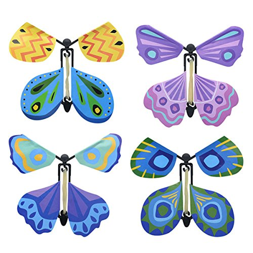Bombom Tree 4 Pcs Magic Flying Butterfly Flies From Cards Letters Books Gifts and Flowers, Wind Up Butterfly Toy Great Surprise Wedding Birthday Gift]()