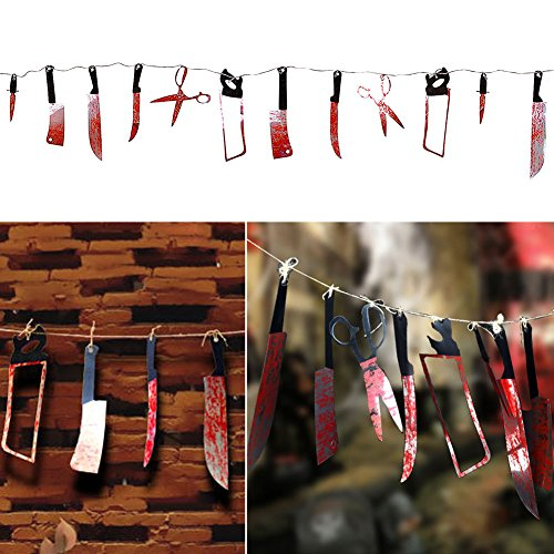 Bloody Weapons Halloween Horror Scary Butcher Knife Chainsaw Weapon Killer Tools Garland Party Decoration Haunted House Banner (Blood weapons)