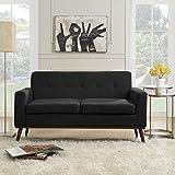 Christopher Knight Home 304338 Stormi Mid Century Modern Fabric Loveseat, Dark Grey/Natural Walnut