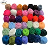 Felting Wool Fibre Wool Yarn Roving for Needle Felting Hand Spinning DIY Craft Materials by BUBBLESTAR(100 Different colors/4g)