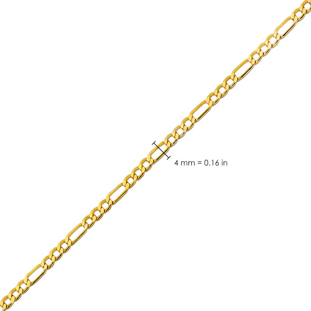 LoveBling 10K Yellow Gold Solid Figaro Chain Necklace, Available in 2mm to 6.5mm, 16'' to 30'' (4.5mm, 22'') by LOVEBLING (Image #5)