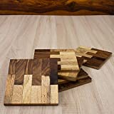 Cheap Rusticity Wooden Coaster Set of 6 – Square Design | Handmade | (3.7×3.7 in)