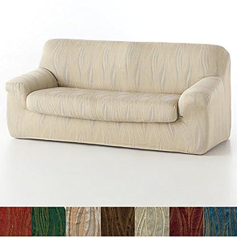 Jarrous Funda de Sofá Elástica con el Cojín Separado Modelo Carabela, Color Oro, Medida 1 Plaza – 70-110cm