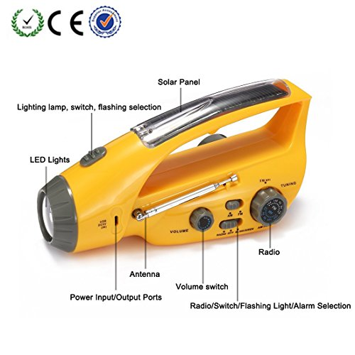 Emergency Radio Flashlight, XLN-288DUS Crank Dynamo AM/FM Radio with Flashlight Hand Cranking Rechargeable Emergency Flashlights for Camping Outdoor Hiking Climbing by XLN