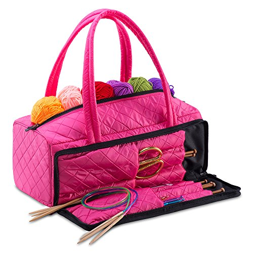 (DeNOA Lightweight Quilted Craft Tote - Sewing and Knitting Yarn Storage Bag - Needle and Accessory Pocket - Bubblegum)