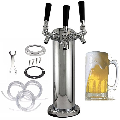 3 Taps Draft Beer Tower, KANING Triple Faucet Stainless Steel Homebrew Bar Party,3