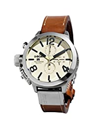 U Boat Classico Beige Dial Brown Leather Mens Watch 7431