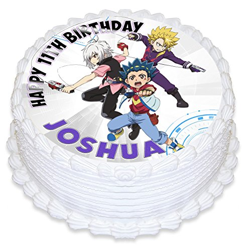 """Price comparison product image Beyblade Edible Cake Image Personalized Topper Icing Sugar Paper 8"""" Round Circle"""