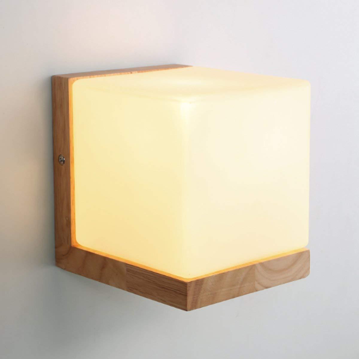 NANIH Home Massivholz Wandleuchte Holz Wandleuchte Schlafzimmer Nachttischlampe Kreative Led Lampe Studie Gang Lampe