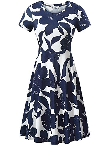 (HUHOT Junior Dress, Women Knee Length Summer Flared Flower Midi Dress for Ladies(Print 1,Large))