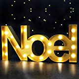 Bright Zeal 8.5'' Tall Large LED Noel Marquee Sign Letters (Gold, 6hr Timer) - Noel Sign Christmas Decorations - Christmas Signs Marquee Letter with Lights - Christmas Letters Decoration