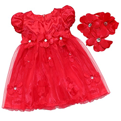 [FEESHOW Baby Girls' Christmas Petals Dress with Headband Outfit Set Red 6-12 Months] (Christmas Outfits Baby)