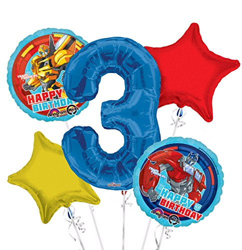 Transformers Happy Birthday Balloon Bouquet 3rd Birthday 5 pcs - Party Supplies]()